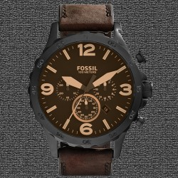 ~Fossil Nate Chronograph Leather Watch - Brown JR1487
