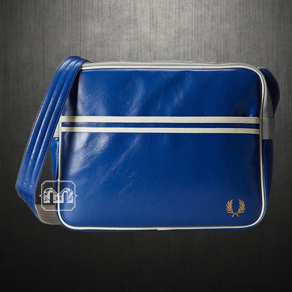 bbbd2789f7f9 ~Fred Perry Men Blue Grey Classic Faux Leather Messenger Shoulder Bag PVC