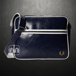 ~Fred Perry Men Navy White Classic Faux Leather Messenger Shoulder Bag PVC