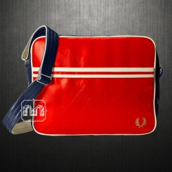~Fred Perry Men Red Navy Classic Faux Leather Messenger Shoulder Bag PVC