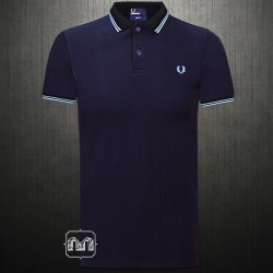 ~Fred Perry Tonic Medieval Navy Blue Twin Tipped Slim Fit Polo Shirt Two Toned