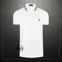Fred Perry Men Cotton Tipped Collar & Cuffs Polo Shirt With Chest Wreath Logo Embroidery