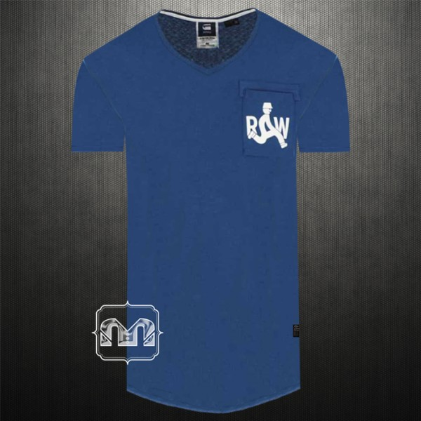 G Star Raw Mens Deep Blue Graphic Printed Marsh Pocket Vneck T-Shirt   Back  Print NO Image  9377e7d0b