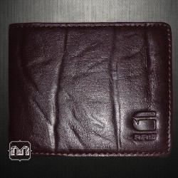 G Star Raw Originals Mens Leather Bifold Maroon Wallet With Tin Box