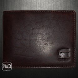 G Star Raw Originals Mens Leather Bifold Dark Brown Wallet With Tin Box