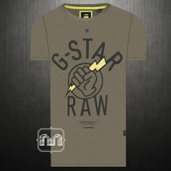 G Star Raw Hook R T Crewneck Printed Short Sleeves Olive Green Graphic Tshirt