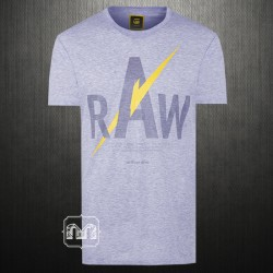G Star Raw Melange Sky Blue Graphic Printed Crewneck T-Shirt