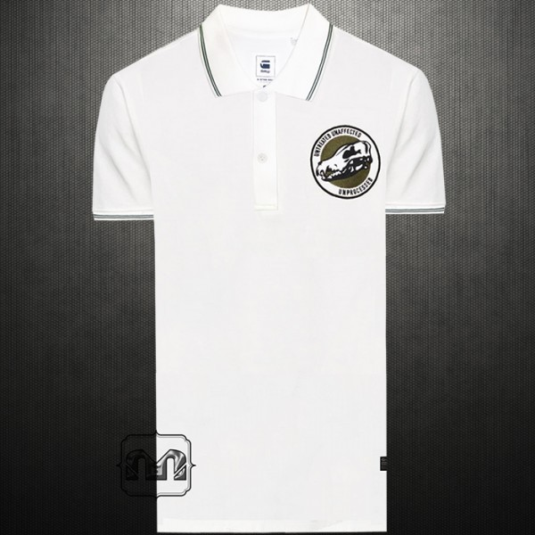 ~G Star Raw Vindal Art Chest Embroidered OffWhite Polo Shirt With Tipped  Collar 8e44e9ce2b