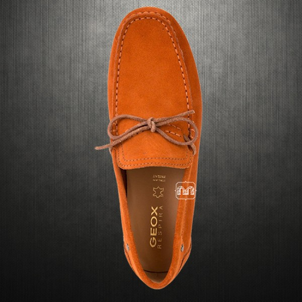 Geox Men Orange Giona Suede Leather Driving Loafers Shoes