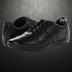 ~Geox Men Black Symbol Leather Laced Up Sneaker Shoes