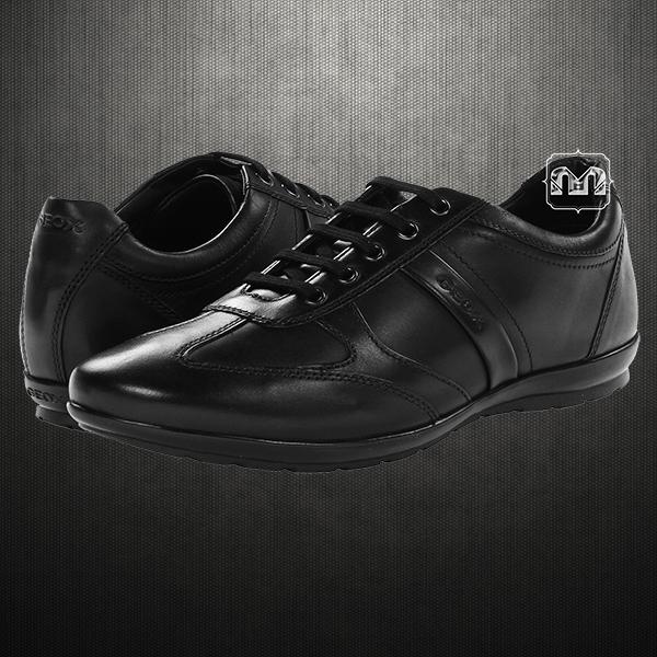 klassischer Chic klassischer Chic größter Rabatt Geox Men Black Symbol Leather Laced Up Sneaker Shoes ...