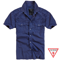~Guess Muscle Fit Blue Navy Washed Half Sleeved Shirt