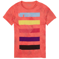 ~Guess Multicolor Bars Printed Pink Tshirt