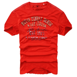 ~Guess Finest Denim & Dry Goods Printed Orange Tshirt