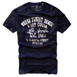 ~Guess Finest Denim & Dry Goods Printed Navy Tshirt
