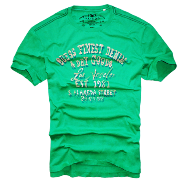 0bcb64be9 ~Guess Finest Denim & Dry Goods Printed Green Tshirt | Malaabes Online  Shopping Store in Egypt Promoting Original Mens Designer Clothing Brands