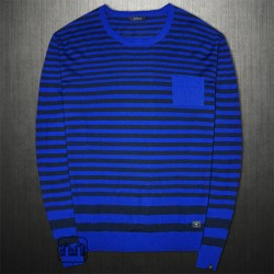 ~Guess Gabriel Navy Black Striped Crewneck Sweater Jumper