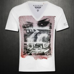 ~Guess White Phantom Vneck Printed Tshirt