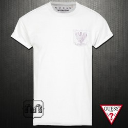 ~Guess White Tshirt With Intarsia Eagle Printed Pocket And Open Edge Short Sleeves