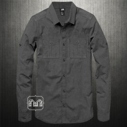 H&M Dark Grey Charcoal Rollup Sleeves Shirt Flap Pockets