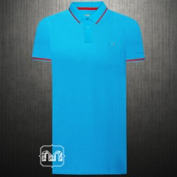~Harmont & Blaine Sport Light Blue Pique Polo Shirt With Chest Logo Embroidery & Tipped Collar
