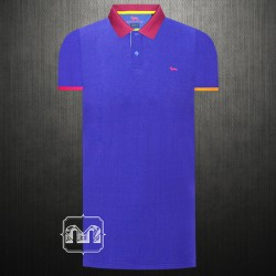 ~Harmont & Blaine Blue Purple Pique Two Toned Polo Shirt With Chest Logo Embroidery & Printed Flipped Maroon Collar