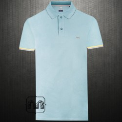 ~Harmont & Blaine Light Blue Pique Polo Shirt With Chest Logo Embroidery & Printed Flipped Collar