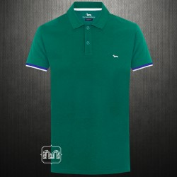 ~Harmont & Blaine Dark Green Pique Polo Shirt With Chest Logo Embroidery & Printed Flipped Collar