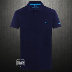 ~Harmont & Blaine Navy Pique Polo Shirt With Chest Logo Embroidery & Branding On Arm
