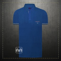 Harmont & Blaine Blue Pique Pocket Polo Shirt With Dachshund Dog Chest Logo Embroidery Regular Fit