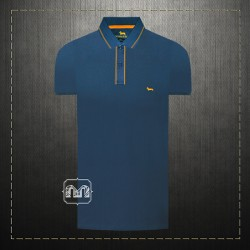 Harmont & Blaine Blue Pique Tipped Collar & Placket Polo Shirt With Dachshund Dog Chest Logo Embroidery