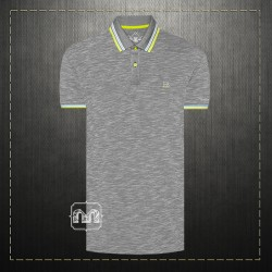 ~Harmont & Blaine Jeans Men Cotton Tipped Collar Mel Grey Polo Shirt With HBJ Chest Logo Embroidery