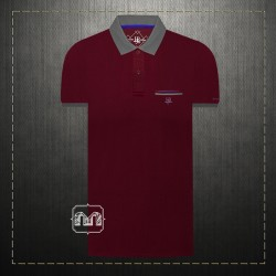 ~Harmont & Blaine Jeans Men Maroon Pique Two Tone Pocket Polo Shirt With HBJ Chest Logo Embroidery