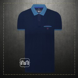 ~Harmont & Blaine Jeans Navy Pique Two Tone Pocket Polo Shirt With HBJ Chest Logo Embroidery