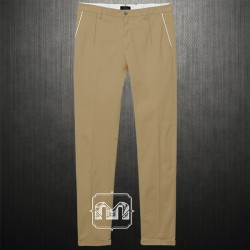 ~Harmont & Blaine Men Flat Front Slim Fit Khaki Chino Lycra Pants With White Lining On Pockets