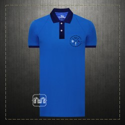 Harmont & Blaine Men Limited Edition Blue Two Toned Polo Shirt With Chest Dachshund Dog Embroidery