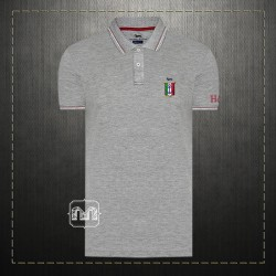 Harmont & Blaine Men Cotton Tipped Collar Grey Polo Shirt With Italy Badge Chest Logo Embroidery