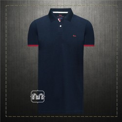 ~Harmont & Blaine Men Navy Pique Polo Shirt With Dachshund Dog Chest Logo & Striped Printed Back Collar 1995