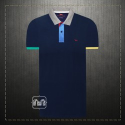 ~Harmont & Blaine Men Navy Pique Two Tone Collar & Cuffs Polo Shirt With Multicolored Placket