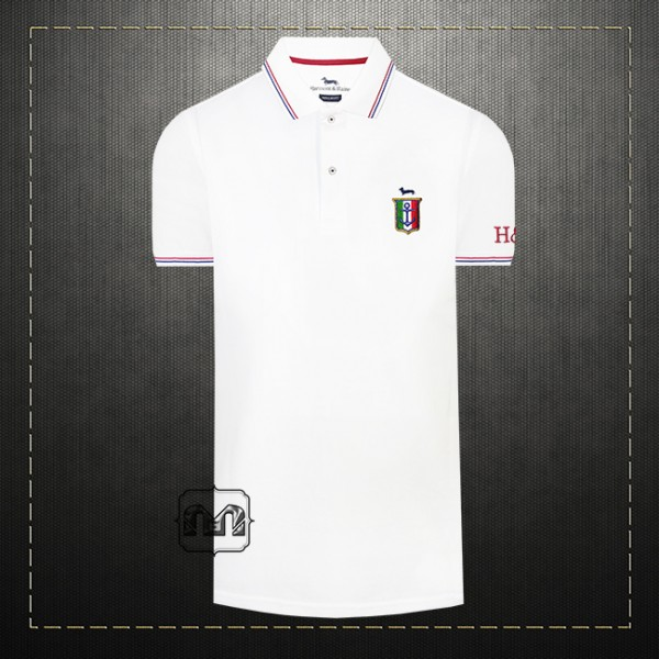 63bd2e9b ~Harmont & Blaine Men Cotton Tipped Collar White Polo Shirt With Italy  Badge Chest Logo Embroidery | Malaabes Online Shopping Store in Egypt  Promoting ...