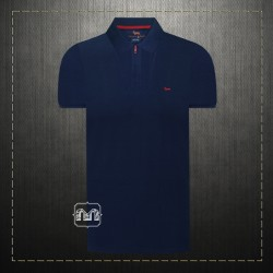 Harmont & Blaine Navy Pique Polo Shirt With Zipper & Dachshund Dog Chest Logo Embroidery