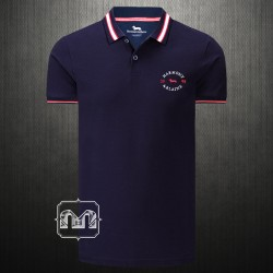~Harmont & Blaine Men Dark Navy Blue Pique Polo Shirt Tipped Collar With Chest Embroidery