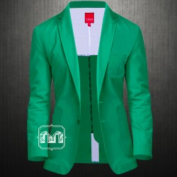IZOD Lacoste Men Pine Green Jacket Two Button Cotton Twill Sport Coat Blazer