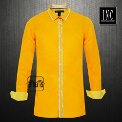 ~INC International Concepts Slim Fit Tropical Orange Solid Full Sleeves Shirt