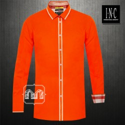 ~INC International Concepts Slim Fit Solid Orange Long Sleeves Shirt