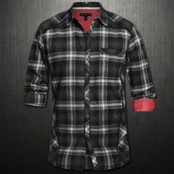 ~INC International Concepts Black Long Sleeve Broadus Plaid Shirt