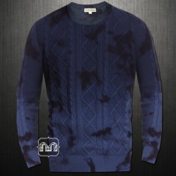 ~INC International Concepts Navy Blue Acid Wash Cable Knit Crewneck Sweater Jumper
