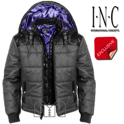 ~INC International Concepts Grey Vincent Puffer Quilted Coat Jacket With Hood