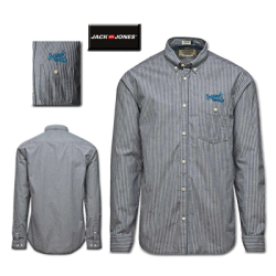 ~Jack & Jones MEAD Striped Grey Long Sleeve Shirt