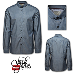 ~Jack & Jones Premium Gregory Full Sleeves Shirt in Majolica Blue Greyish